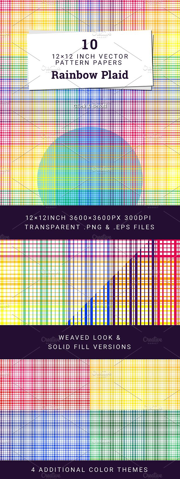 10 Rainbow Plaid Pattern Papers