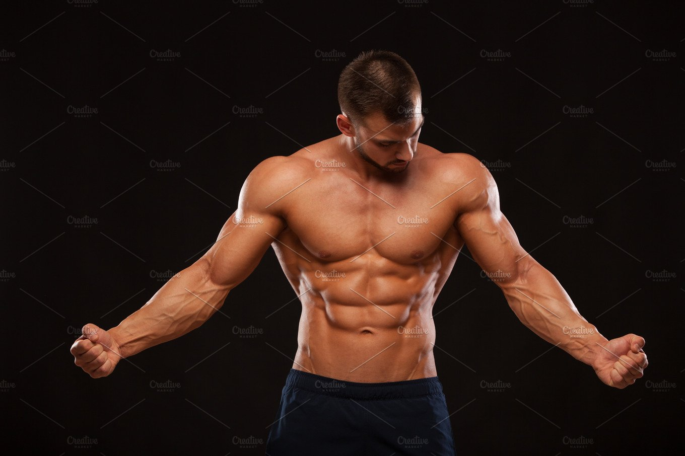 Strong Athletic Man Fitness Model Torso Showing Six Pack -3281