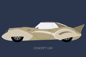 side view vintage concept car