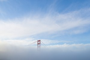 The Golden Gate Bridge hidden in Fog