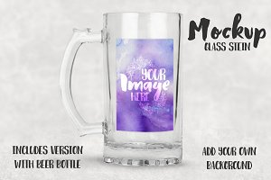 Glass Stein Beer Mug Mockup
