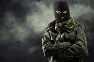 Portait of masked terrorist