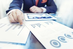 Businessman working finance data