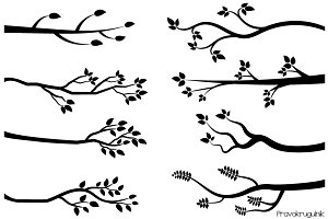 Black tree branch silhouette clipart