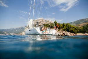 couple yachting honeymoon
