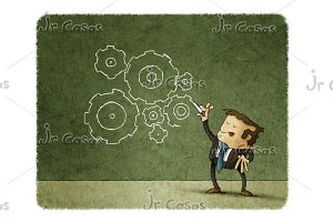 Concept of business, man drawing gears