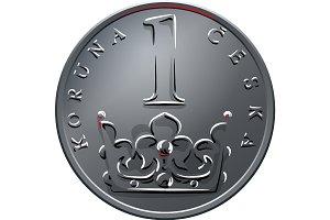 vector Money one czech crones coin reverse