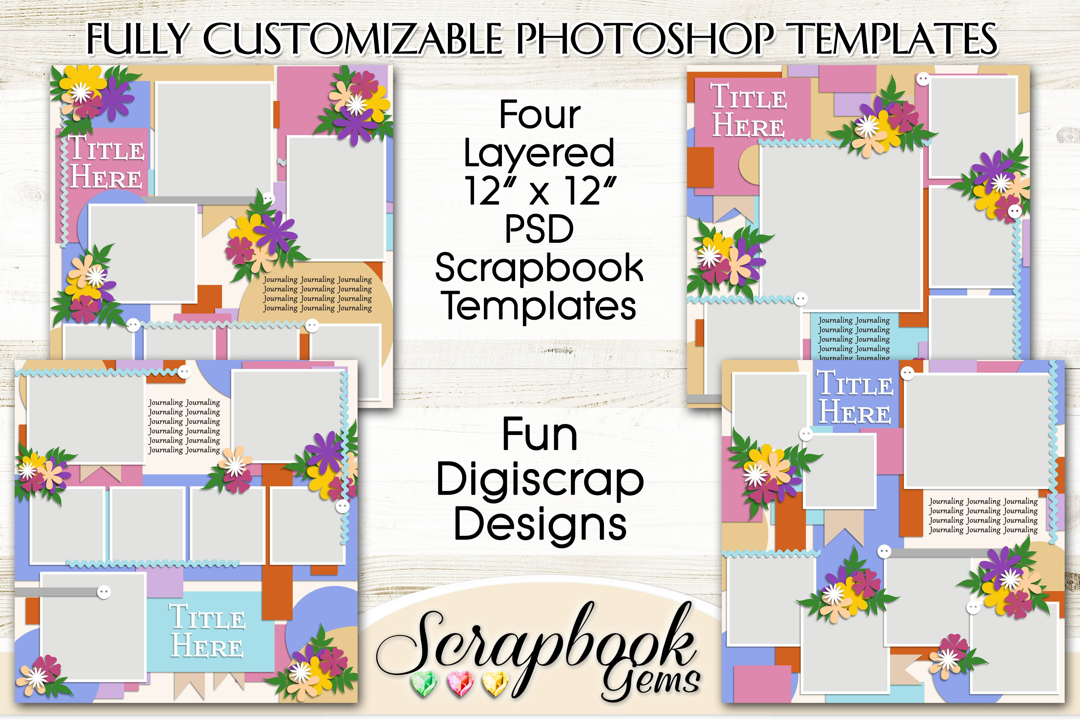 How to use digital scrapbook templates (photoshop and elements.