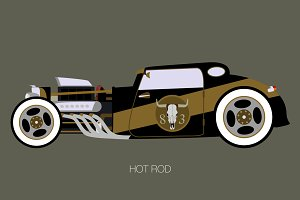 black and golden hot rod