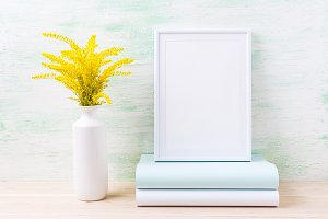 White frame mockup with golden grass