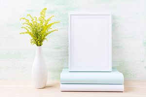 White frame mockup with green grass