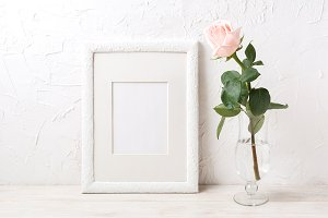 White frame mockup with rose