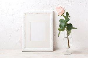 White frame mockup with rose