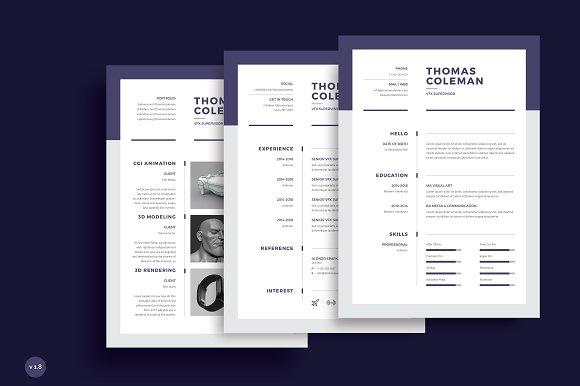 Resume/CV 3 Page ~ Resume Templates ~ Creative Market