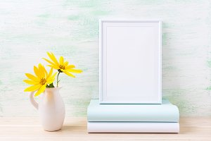 White frame mockup with rosinweed