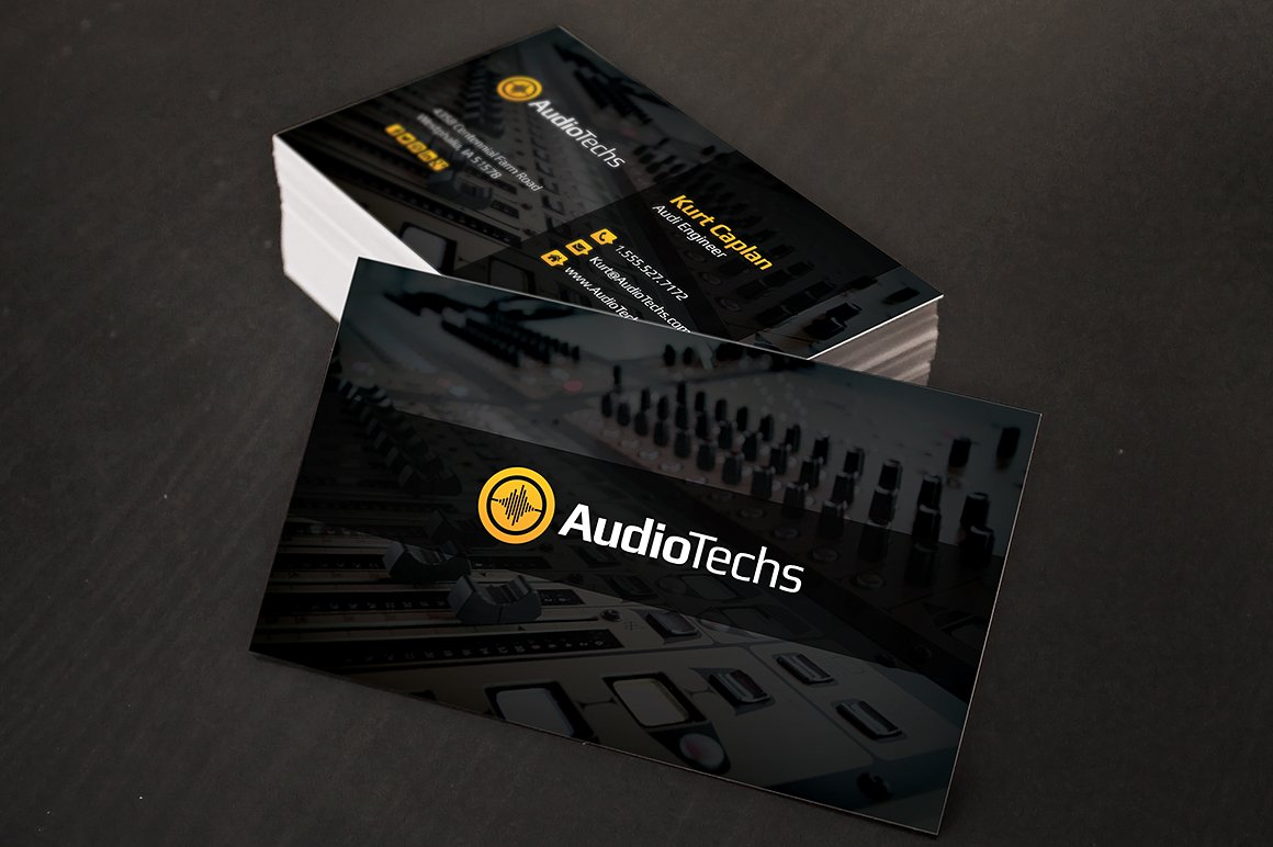 Audio engineer business cards logo business card templates audio engineer business cards logo business card templates creative market flashek Images