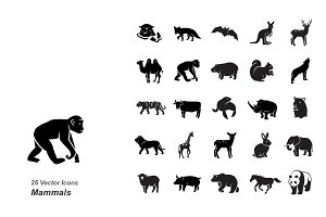 Mammals I vector icons