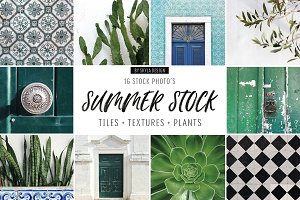 Summer stock, tiles, texture, plants
