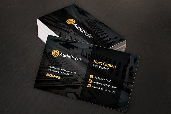 audio engineer business cards logo business card templates creative market - Engineer Business Card