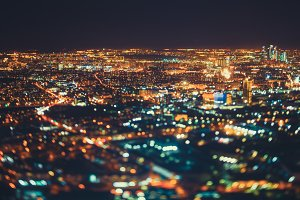 Tilt shift shooting of night city