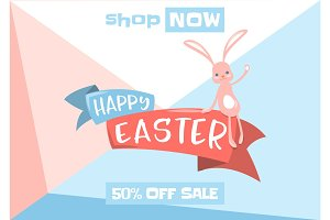Vector illustration of easter spring sale background with cute bunny