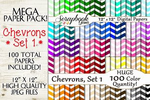 100 Color Chevron Papers, Set 1