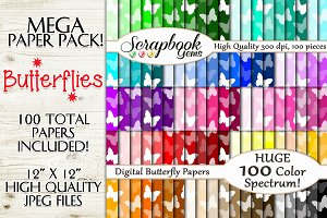 100 Color Butterfly Papers