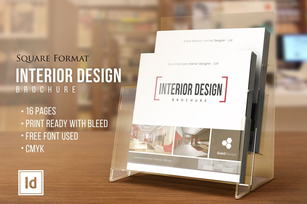 INTERIOR DESIGN O Square Brochure Templates Creative Market