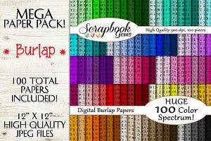 100 Color Burlap Texture Papers