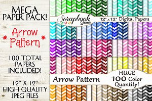 100 Color Arrow Pattern Papers