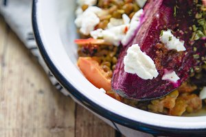 Lentil salad with feta and beetroot