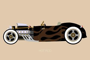 vector convertible hot rod