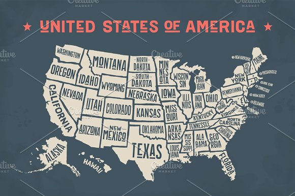 Poster Map United States Of America With State Names - Map of the united states with names