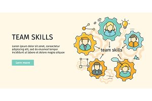Team Skills Banner. Avatar in Gear.