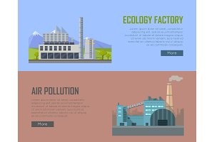 Ecology Factory and Air Pollution Banners