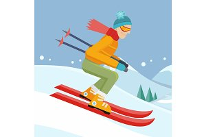 Skier on Slope Vector Illustration in Flat Design