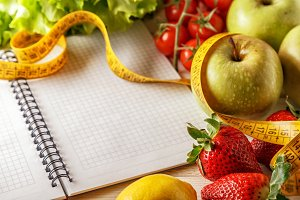 vegetables and fruits, notebook
