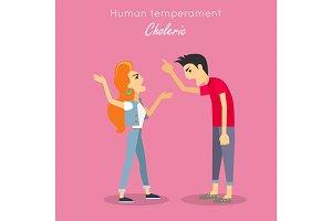 Human Temperament Concept Vector in Flat Design