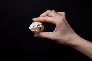 Woman hand holding dumpling