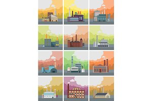 Set of Factory Building Banners