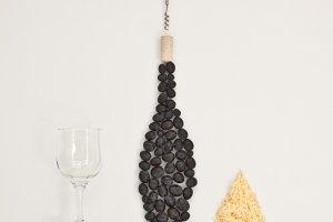 Bottle wine,corkscrew, glass, cheese