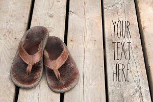 Worn Leather Flip Flops Stock Photo