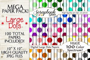 100 Colors Large Polka Dot Papers