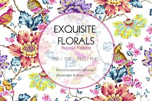 Exquisite Floral Print in 2 Repeats