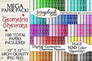100 Colors Geometric Chevron Papers