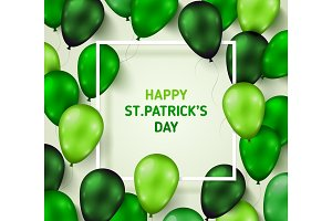 Saint Patrick's Day Poster with Shiny Balloons