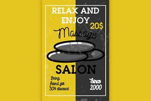Color vintage massage salon banner