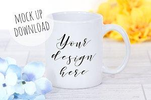 Colourful Mug Mockup With Flowers