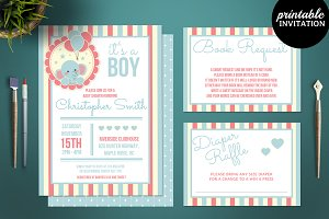 Elephant Boy Baby Shower Invitation