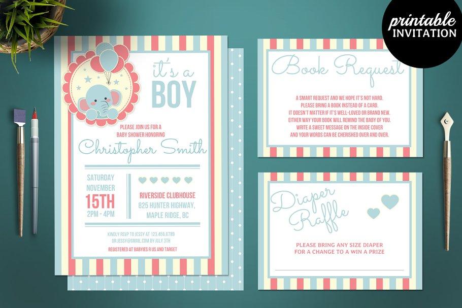 Elephant Boy Baby Shower Invitation